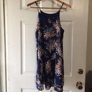 Francesca's Blue Rain Navy Floral Swing Dress M